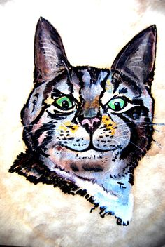 What bird?     One of my few pastels, and my first cat painting by Lynda Nolte