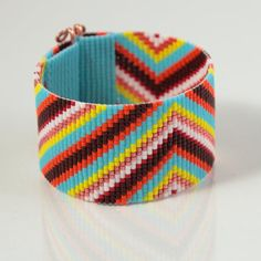 Boho Colorful Beaded Cuff Bracelet Bead Loom Native American Inspired Wide Hippie Chic Southwestern Mexican Tribal