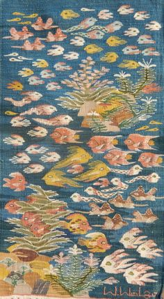 """""""Red Sea Fish"""", Gehan Rezk, Cotton Tapestry, x m ( 11 x 20 inches ) Read more about cotton tapestries ( Artist biography coming soon ) Each wall tapestry hand-woven at the Ramses Wissa Weaving Textiles, Tapestry Weaving, Wall Tapestry, Textile Prints, Textile Art, Creative Textiles, Muse Art, Floor Art, Sea Fish"""