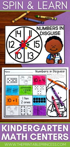 "This resource is a perfect way to make Kindergarten math centers EASY to prep and plan, interactive, meaningful, and FUN! With 50 center activities included, there's more than enough to incorporate a ""spinner center"" in your classroom the entire school year! Addition Activities, Subtraction Activities, Kindergarten Math Activities, Word Work Activities, Counting Activities, Letter Activities, Kindergarten Classroom, Classroom Ideas, First Grade Teachers"