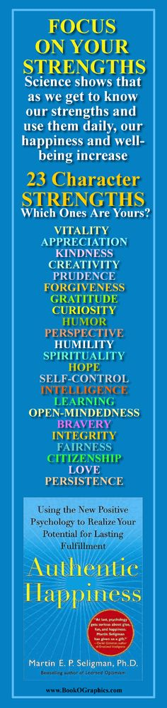 """Focus on Your Strengths - A BookOGraphic featuring the book """"Authentic Happiness"""" by Martin Seligman, Ph.D"""