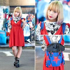 18-year-old @Akarin0821 on the street in Harajuku after dark with a dip dye bob hairstyle, a red Nadia Harajuku dress over resale Flamingo t-shirt, Tokyo Bopper platforms, and a cute Vivienne Westwood stars backpack.
