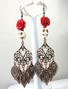 Sugar Skull Earrings Day Of The Dead Jewelry by sweetie2sweetie, $14.99