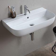 Nameeks Scarabeo Hole White / One Hole Scarabeo Glam Rectangular Ceramic Vessel or Wall Mounted Bathroom Sink with Overflow Modern Bathroom Sink, Boho Bathroom, Modern Bathroom Design, Bathroom Colors, Small Bathroom, Master Bathroom, Basement Bathroom, Bathroom Vanities, Small Sink