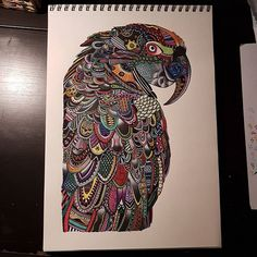 Amazing geometric parrot art created by @carovierbuecher with their Chameleon Pens.   #art #artsy #artist #bnw #creative #design #doodle #drawing #draw #fineart #geometric #geometricart #instaart #igart #zentangle #chameleonpens #pen #pencil #animal #black #nature #parrot #papagei #dots