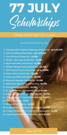 This is the BEST list of July scholarships because all the deadline are up-to-date. 77 summer scholarships to help students pay for college. #scholarships #scholarship #college #collegelife #student #studentlife #collegestudent #collegetips #senior #freshman via @esycollegelife