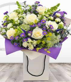 Country Garden Gift Bag - purple & white bouquet florist delivered