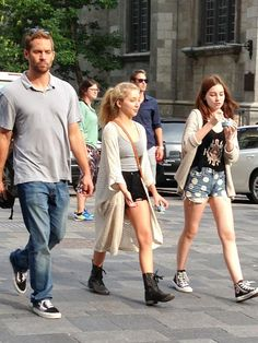 Paul Walker and daughter Meadow Rose (far right)