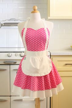 I really want an apron like this, but i want it monogrammed... Apron French Maid Pink and White Polka Dot with White by Boojiboo, $38.75