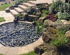 Decorative Safety Pond Grill, which we designed and had installed in a garden we landscaped in Eaglesham, near Glasgow Backyard Water Feature, Ponds Backyard, Backyard Ideas, Chickens Backyard, Pond Landscaping, Landscaping With Rocks, Pond Design, Garden Design, Landscape Design