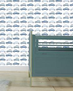 Patroon behang auto denim blauw jongenskamer