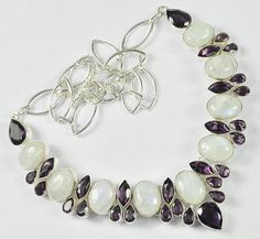 "RAINBOW MOONSTONE, AMETHYST GEMSTONE .925 SILVER JEWELRY NECKLACE SIZE 18""  #Handmade #Necklace"