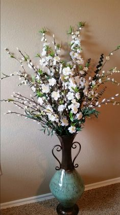 One of my DIY large floor vase Silk Flower Arrangements with Cherry Blossoms, Pussy Willows & Eucalyptus Branches.