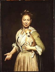 A Woman with a Dog Giacomo Ceruti  (Italian, Milan 1698–1767 Milan) Date: 1740s Medium: Oil on canvas Dimensions: 38 x 28 1/2 in. (96.5 x 72.4 cm) Our painting is typical both in the social class of the subject, probably a maidservant carrying her mistress's dog, and its direct, unidealized presentation.