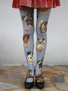 Blue tights with dog print