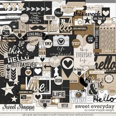 Free Sweet Everyday Collection from The Pocket Source and Sweet Shoppe Designs.  Includes 12 3x4 and 12 4x6 cards in both horizontal and vertical orientation, 18 digital stamps in black and white, 46 printable embellishments, 1 exclusive font, 2 complete alphas on individual and full .png sheets, 4 3x4 .psd photo collages, 7 layered .psd journal cards and 6 cut files in .png and .svg formats. {store checkout required}