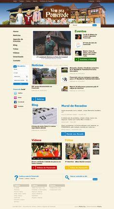 Site do portal turístico Vem pra Pomerode. Navegando pelo site, o usuário encontra informações completas sobre turismo, esporte e cultura na cidade de Pomerode (SC). Também foi desenvolvida uma rede social para que as pessoas possam contribuir com conteúdos no site (imagens, vídeos, textos, etc).