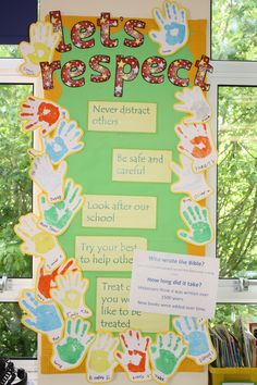 Year 4 class RRS (Rights and Responsibility) board / charter. Class Displays, School Displays, Classroom Displays, Classroom Ideas, Forest School Activities, First Day Of School Activities, Class Charter Ks1, Rights Respecting Schools, Display Boards For School