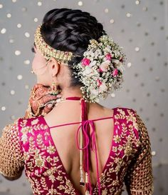 Best Hindu Bridal Hairstyles Saree Blouse Designs 59 Ideas - MY World South Indian Wedding Hairstyles, Bridal Hairstyle Indian Wedding, Bridal Hair Buns, Wedding Hairstyles For Long Hair, Bride Hairstyles, Cool Hairstyles, Hairstyle Photos, Indian Hairstyles, Hairdo Wedding