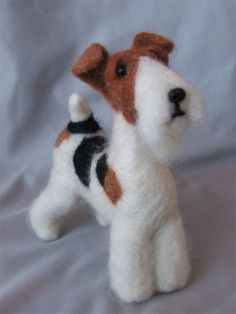 Needle Felted Wirehaired Fox Terrier by Laurie Valko