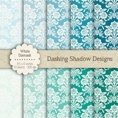 """Digital Paper Pack - White Damask in Teal Shades - 8.5 x 11"""" Digital Scrapbook Paper #scrapbooking #scrapbook #paper #digiscrap #supplies #pages #damask #vintage #teal #turquoise #blue #green #aqua"""