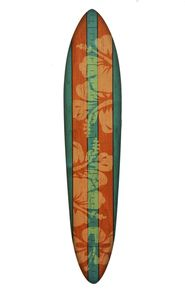 Surfboard Growth Chart by Growth Chart Art - Blue & Orange Hibiscus