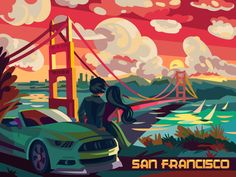 San Francisco Design, Landscape Illustration, Pretty Pictures, Aesthetic Wallpapers, Cartoon, City, Cards, Movie Posters, Photography