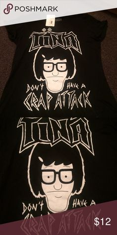 """Tina Belcher T-shirt Funny Tina Belcher from Bob's Burgers t-shirt that reads """"don't have a crap attack"""". Never been worn! Bob's Burgers Tops Tees - Short Sleeve"""