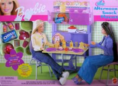 Barbie All Around Home Afternoon Snack Playset (2001) by Mattel. $28.65. Barbie All Around Home Afternoon Snack Playset is a 2001 Mattel production. Model #47855. CONTENTS: Pull-Out Table, 2 Chairs, China Cabinet, Dishes, Placemats, Serving Pieces, & Accessories. It's Snack Time! There's a colorful Hutch for the Dishes! The Doors really open! And there's lots of dishes & dining accessories! Attach this room to other All Around Home Playsets! Each Playset has 360 de...