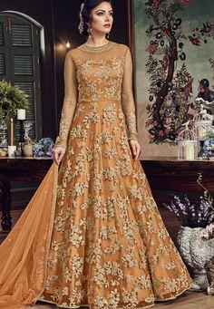 Orange Designer Anarkali Salwar Suit- Explore Wide Range of Latest Designer Anarkali Salwar Suit Online in India @ YOYO Fashion.♥ Latest Frock Suit Designs ♥ COD ♥ New Anarkali Suit Designs Shadi Dresses, Indian Gowns Dresses, Pakistani Dresses, Net Dresses, Net Gowns, Pakistani Wedding Outfits, Bridal Outfits, Bridal Gowns, Indian Wedding Gowns