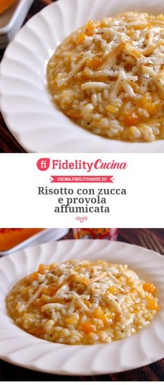 Risotto con zucca e provola affumicata Sweet Recipes, Healthy Recipes, Risotto Recipes, Tasty, Yummy Food, Gnocchi, Macaroni And Cheese, Food And Drink, Dishes