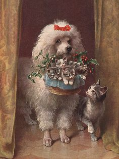 Vintage Poodle Holding Lovely Basket of Christmas Kittens for Mama Cat
