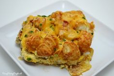 Cheesy Tater Tot Sausage and Bacon Casserole #Recipe