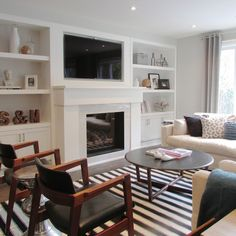 shelves, fireplace