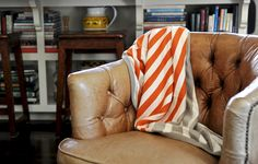 Striped reversible throw from Olmay Home