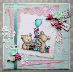 LOTV - Happy Bears Stamp Set with Pastel Dreams and Romance and Roses Paper Pads and Sentiment Tags by Kat Waskett