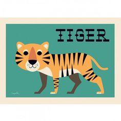 """Kinderposter+""""curious+tiger"""",+50+x+70+cm,+Ingela+P.+Arrhenius+für+OMM+Design"""