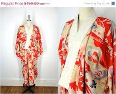 25 OFF SALE  Vintage Cotton Kimono / 1920s / Juban by ThisBlueBird, $149.25