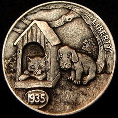HOWARD THOMAS HOBO NICKEL - UNINVITED GUEST - 1935 BUFFALO NICKEL Hobo Nickel, Coin Art, Challenge Coins, Rare Coins, Metal Art, Sculpture Art, Buffalo, Nifty, Cactus