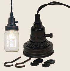 Mason Jar Pendant Lamp Kit - Rustic Brown
