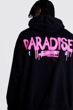 Boohooman Mens Black Oversized Paradise Back & Front Print Hoodie, Black - Black - Size: Large Tee Shirt Homme, T Shirt Vest, T-shirt Raglan, T-shirt Broderie, Death Row Records, Tee Shirt Designs, Mode Hijab, Hypebeast, Cool Shirts