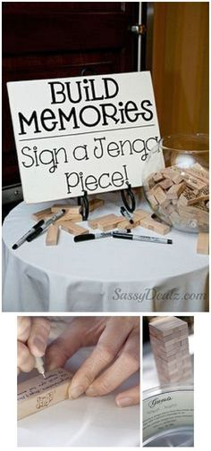 Alternative Wedding Guest Book or house warming Ideas – Jenga, Corks, Wishing Stones...love it!                                                                                                                                                                                 More