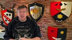 (in This is how to make shields from foam board. Step-by-step making of a decorative heater shield using foam board. Holidays Halloween, Halloween Crafts, Shield Template, Medieval Shields, Sewing Techniques, Larp, Medieval Decorations, Christmas Sweaters, Printables