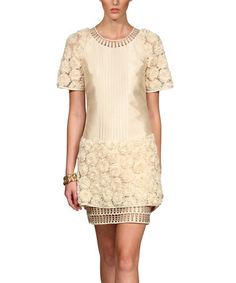 Another great find on #zulily! Champagne Rosette Shift Dress - Women & Plus by JSong #zulilyfinds