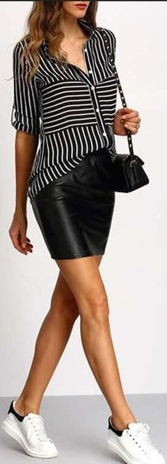 Black And White Stripe Shirt Blouse