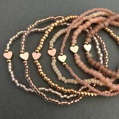 Personalized Bracelet Stack of 3 - Tiny Heart Bracelet - Stacking Bracelet - 3 Heart Bracelets for Stacking Bracelet Crafts, Seed Bead Bracelets, Jewelry Crafts, Stacking Bracelets, Gold Bracelets, Seed Beads, Diamond Earrings, Diamond Brooch, Colorful Bracelets
