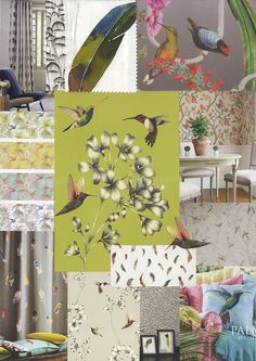 Birds of Paradise - Spring/Summer 2015 - #fabric and wallpaper patterns feature #hummingbirds, parakeets with tropical flora and fauna in bright exotic colours.