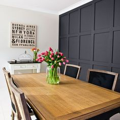 Think your dining room walls are looking a little flat? Add a dash of style by borrowing an elegant look from majestic homes and castles of centuries past. Feature Wall Living Room, New Living Room, Small Living Rooms, Dining Room Paneling, Dining Room Walls, Room Interior, Interior Design Living Room, Timber Panelling, Wall Panelling