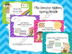 Spring Domino addition Bundle from KindergartenCouture on TeachersNotebook.com -  (32 pages)  - This is a pack of four domino addition games for spring.  Just print, laminate and your center is ready to go.