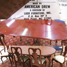 #AmericanDrew Oval Shaped #cherry Extending Dining Table With 6 Matching  Chairs, 2